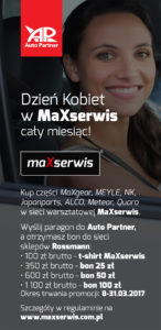 Infografika o promocji warsztatow MaXserwis z okazji Dnia Kobiet
